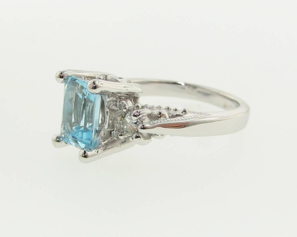 Vintage Sky Blue Topaz Moissanite Ring, Old Paris