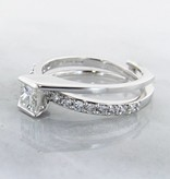 Trending Bridal Diamond White Gold Wedding Ring Set, Interlocking