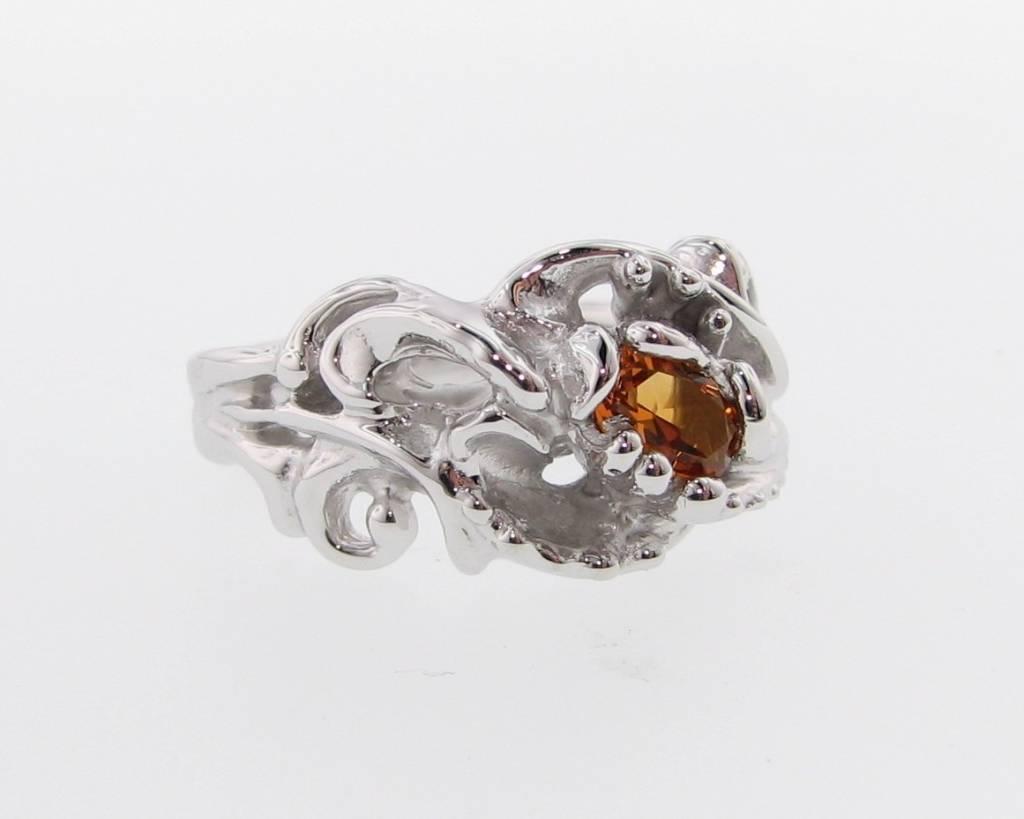 Organic Citrine Silver Ring, Undersea Swirl