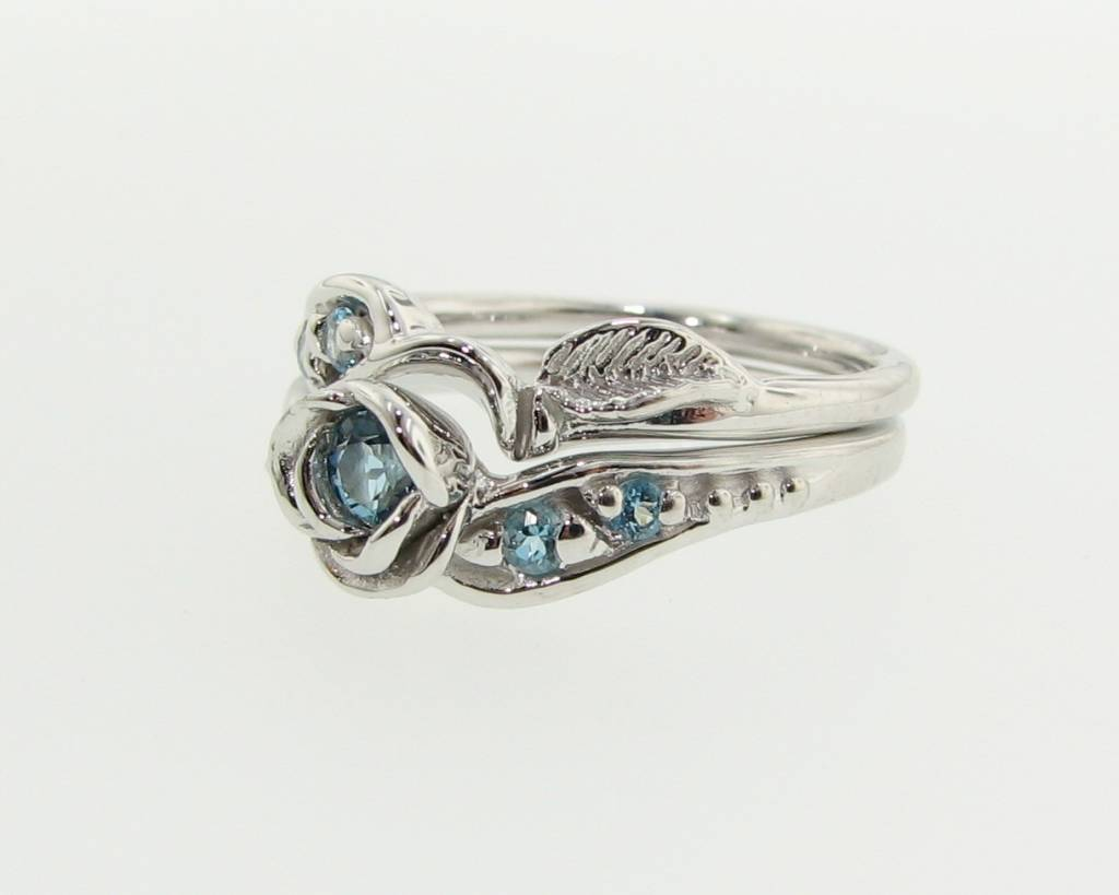 Signature Rose Swiss Blue Topaz Silver Wedding Ring Set, Prize Tea Rose