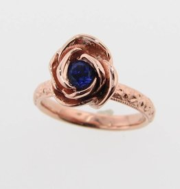 Signature Rose Tanzanite Rose Gold Ring, Stacking Solitaire Rose