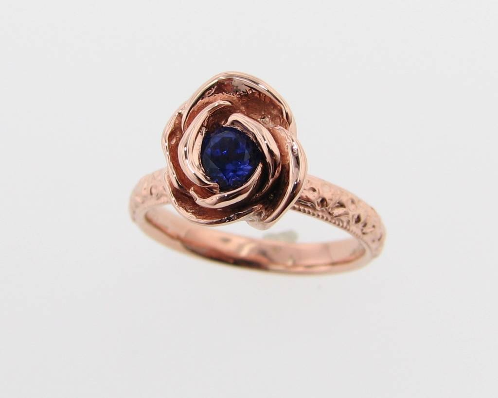 Signature Rose Tanzanite Rose Gold Ring, Stacking Solitaire Rose