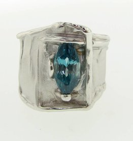Motion London Blue Topaz Marquise Ring, Silk