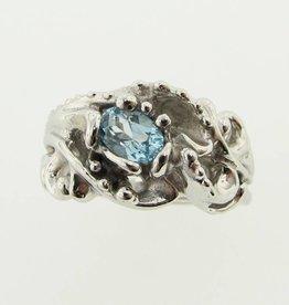 Motion Silver Swirl Ring, Sky Blue Topaz, Undersea