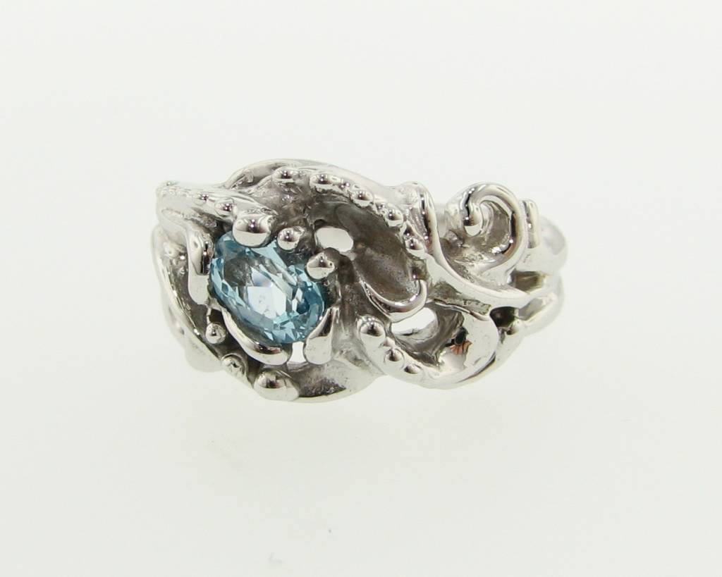 Motion Silver Swirl Ring, Sky Blue Topaz, Undersea