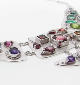 Organic Silver Multi Gemstone Necklace, Cleopatra