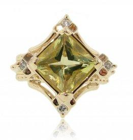 Sleek Yellow Gold Lemon Quartz Diamond Ring, Santa Fe