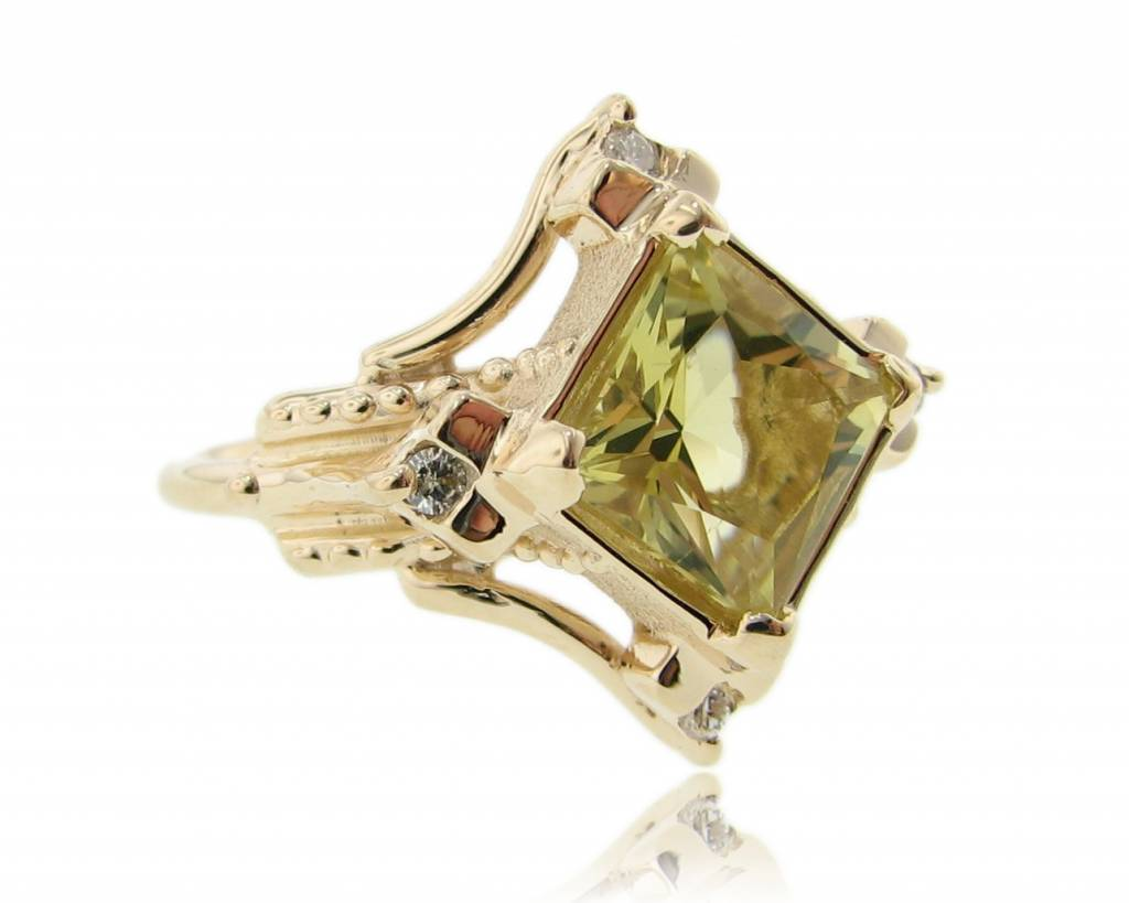 Sleek Yellow Gold Lemon Quartz Diamond Ring, Santa Fe