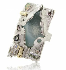 Organic Silver Druzy Quartz Multi Gemstone Ring, Emergent