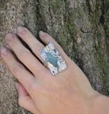 Organic Silver Druzy Quartz Multi Gemstone Ring, Emergent