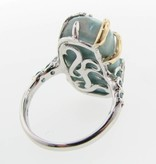 Organic Silver Gold Two-tone Larimar Ring, Tropical Getaway