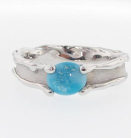 Organic Turquoise Silver Ring, Medium Melted Band