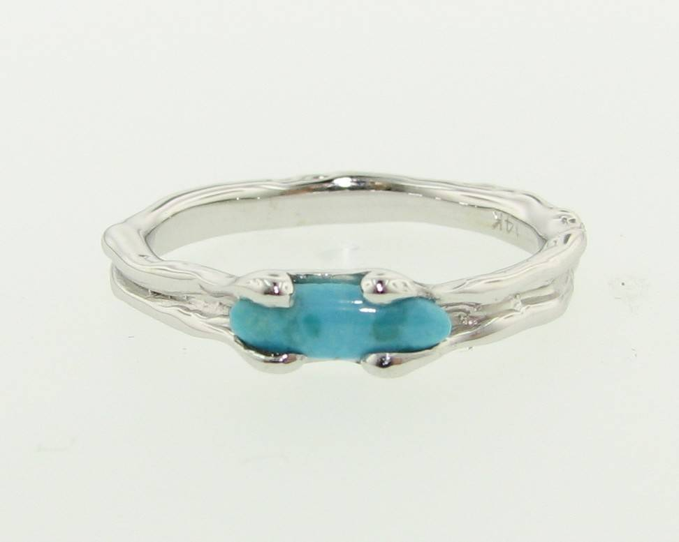 Organic Turquoise White Gold Ring, Skinny Melted Band
