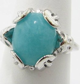Vintage Amazonite Silver Art Deco Ring