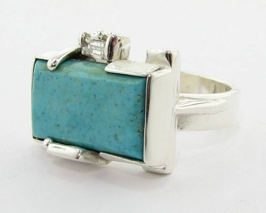 Sleek Turquoise Silver Diamond Ring, Fortress