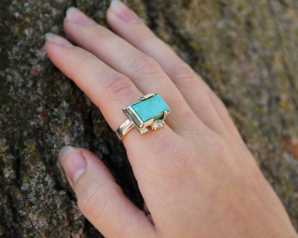 Turquoise Silver Diamond Ring, Fortress Clearance $399 | Wexford ...