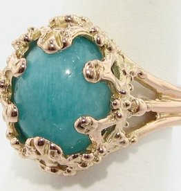 Vintage Amazonite Rose Gold Ring, Oval Duchess