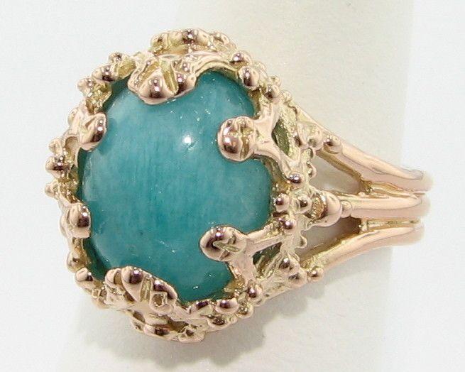 Vintage Amazonite Rose Gold Ring, Oval Duchess