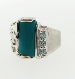 Organic Chrysocolla Blue Zircon Silver Ring, Melted Pierced