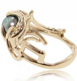 Organic Black Pearl Ring Yellow Gold Ring, Maleficent