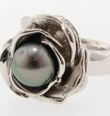 Signature Rose Tahitian Pearl Silver Ring, Blooming Rose