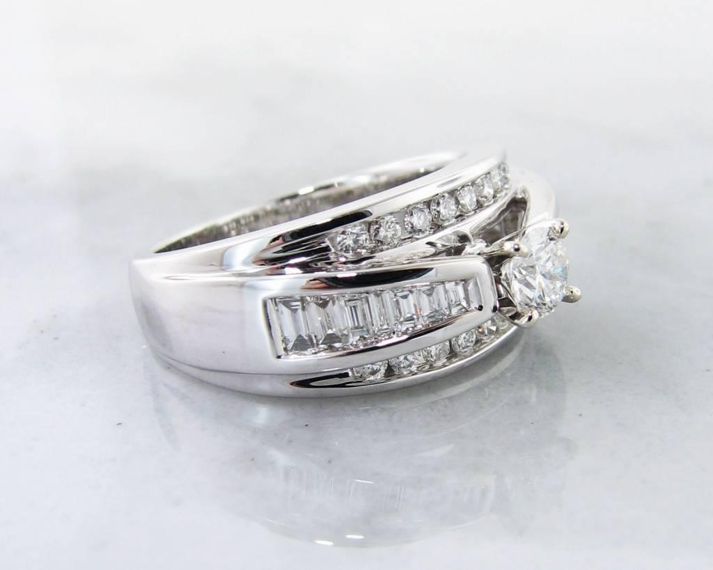 Timeless Bridal Diamond White Gold Wedding Ring, Wide