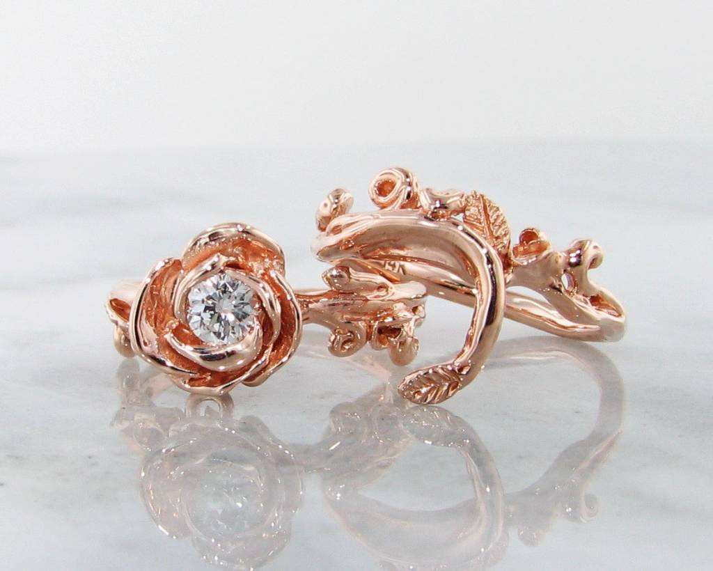 Signature Rose Diamond Rose Gold Wedding Ring  Set, Rose Garland