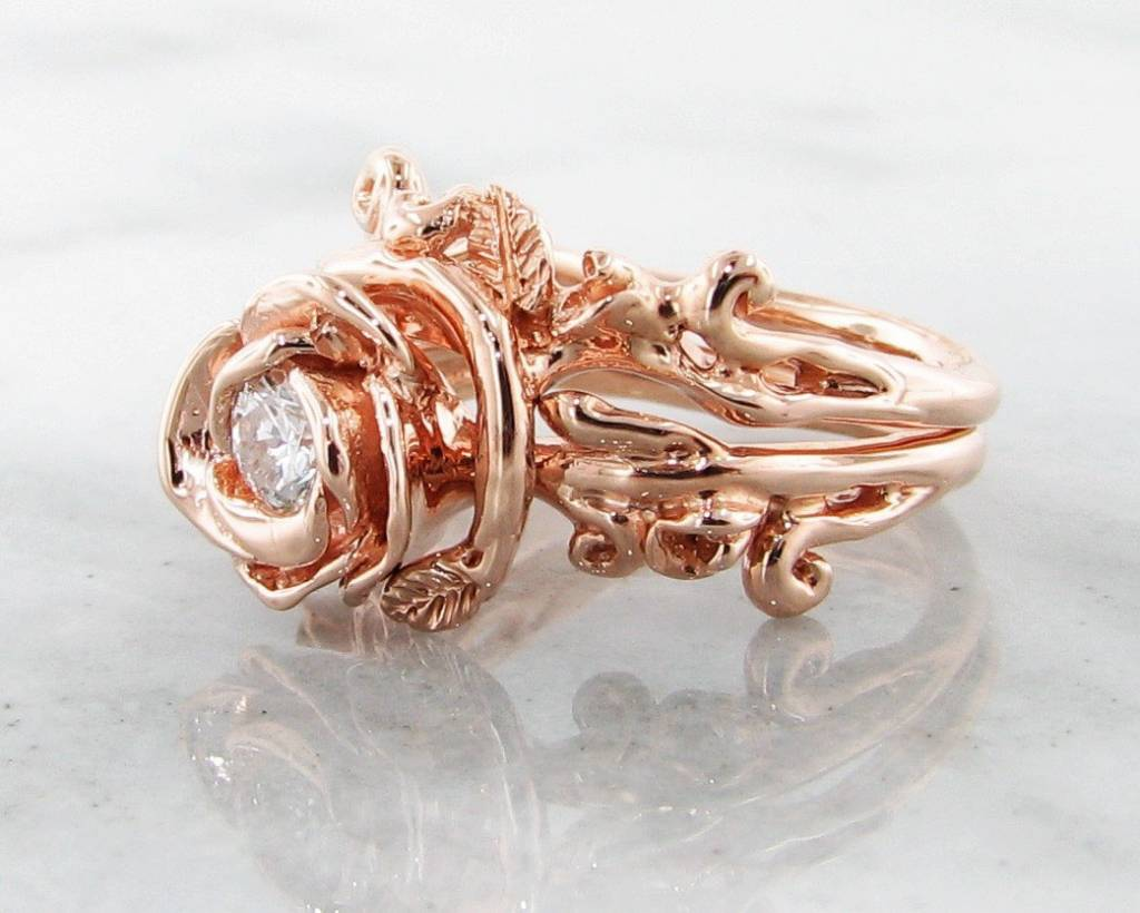 signature rose diamond rose gold wedding ring set rose garland - Rose Gold Wedding Ring Set