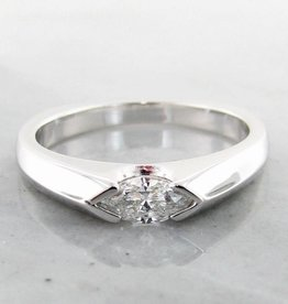 Sleek White Gold Marquise Diamond Ring, Sleek East to West