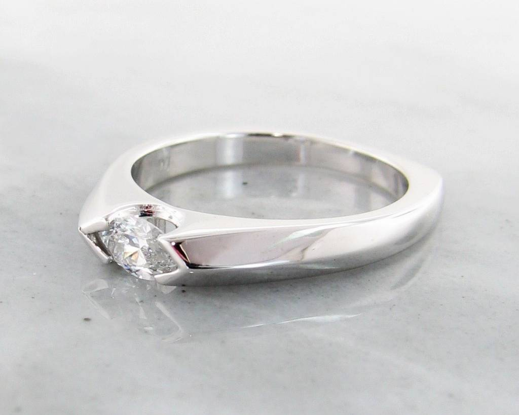 Sleek Diamond White Gold Ring, Marquise, Sleek East to West