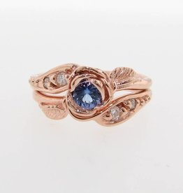 Signature Rose Tanzanite Diamond Rose Gold Engagement Ring Set, Prize Tea Rose