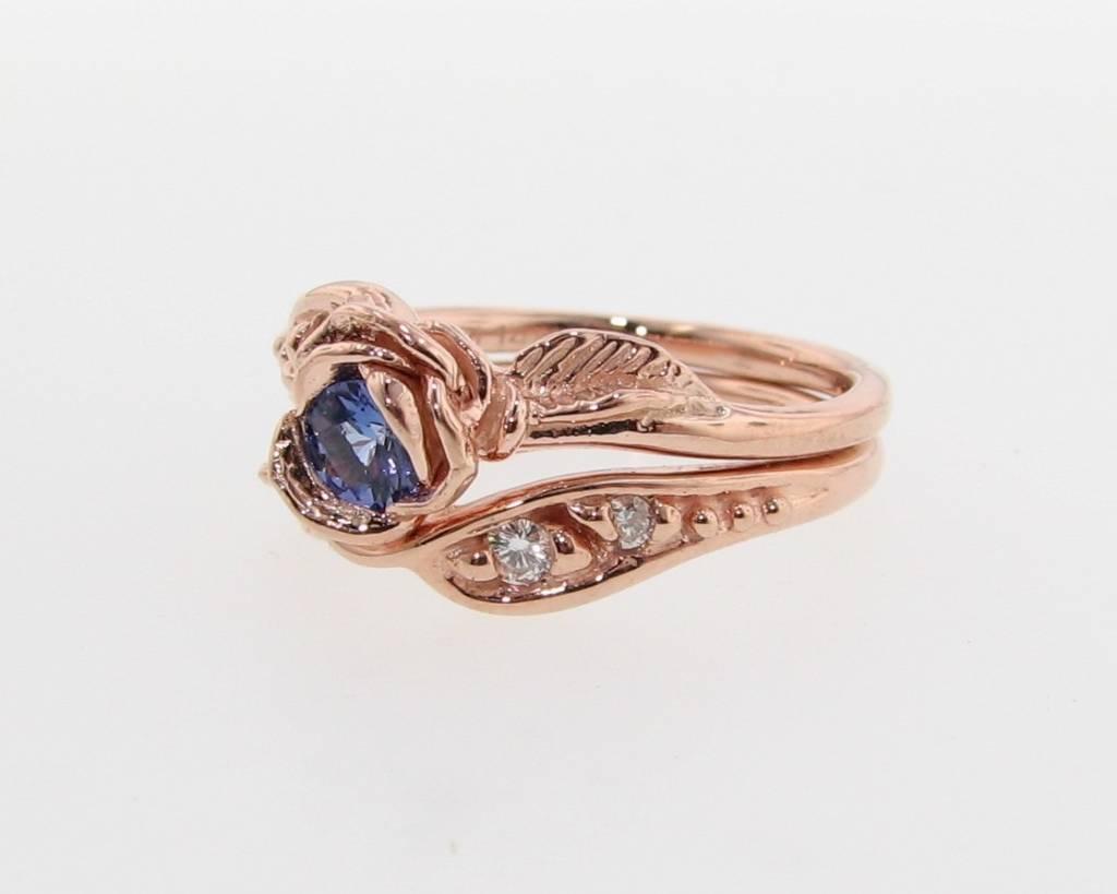 Tanzanite Diamond Rose Gold Engagement Ring Set Prize Tea Rose