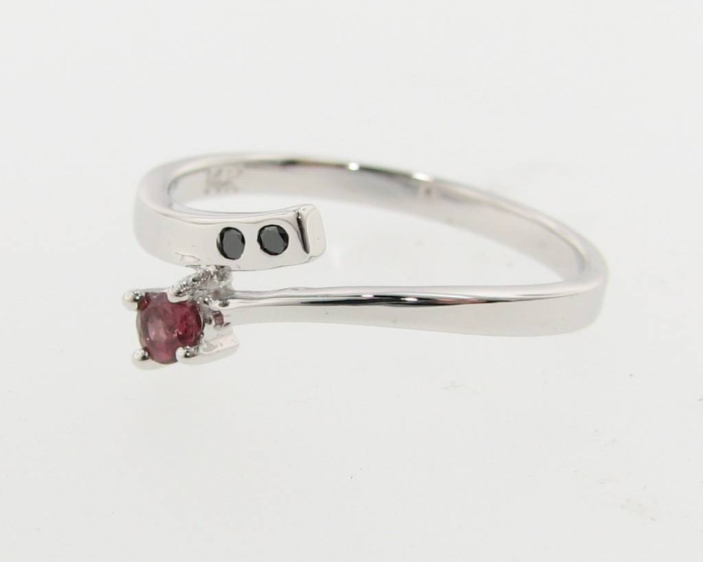 Sleek Pink Tourmaline Black Diamond White Gold Ring, Tatiana