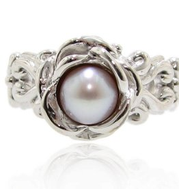 Vintage Pearl Silver Ring, Victorian, A la Rose