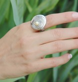 Organic Pearl Silver Ring, Rippling Water