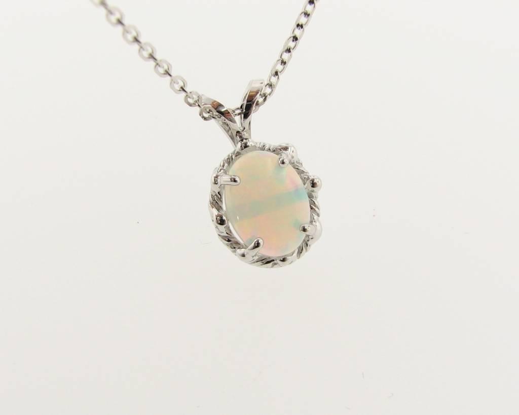 Vintage White Gold Ethiopian Opal Pendant, Mother's Mirror