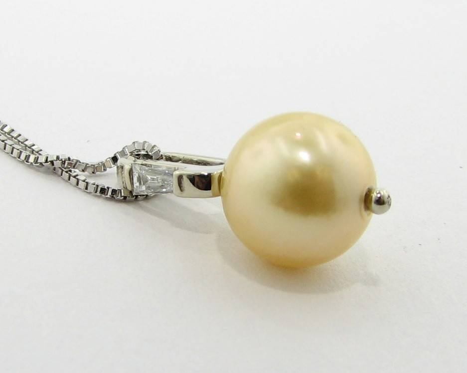 Sleek Golden Pearl Diamond White Gold Pendant