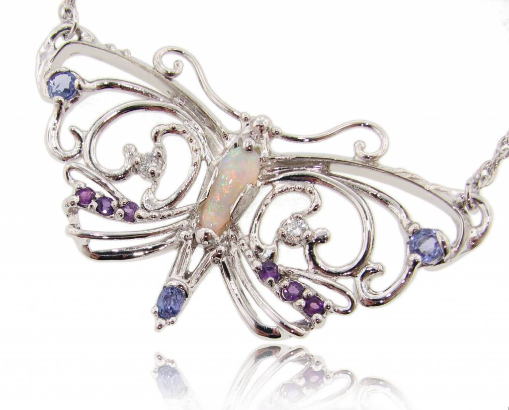 Organic Silver Multi Gemstone Butterfly Necklace, Glasswing