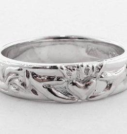 Vintage Silver Wedding Band, Claddagh Ring