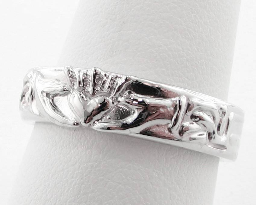 Vintage Silver Wedding Band, Claddagh Ring