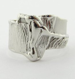 Rustic White Gold Ring, Grafted Root