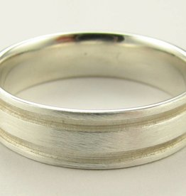 Sleek Silver Wedding Ring, Grooves Band