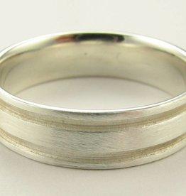 Sleek Silver Wedding Ring, Grooves Band