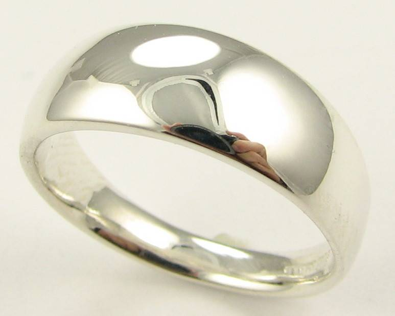 Sleek Sterling Silver Ring, Slender Dome