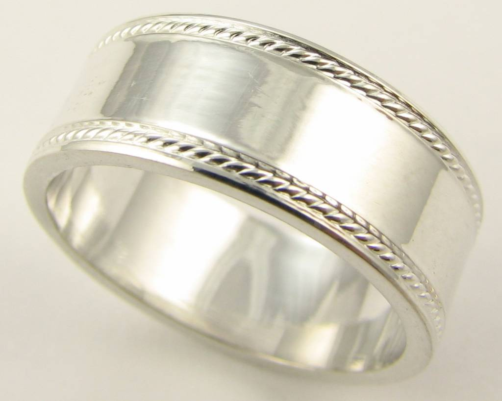 Sleek Silver Ring, Accented Edge Band