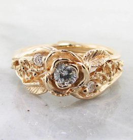 Signature Rose Diamond Yellow Gold Wedding Set, Lacy Tea Rose