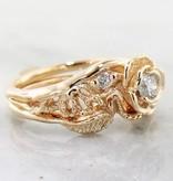 Signature Rose Diamond Yellow Gold Wedding Set, Lacy Tea Rose
