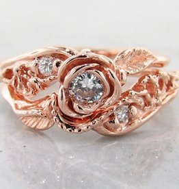 Signature Rose Diamond Rose Gold Wedding Set, Lacy Tea Rose