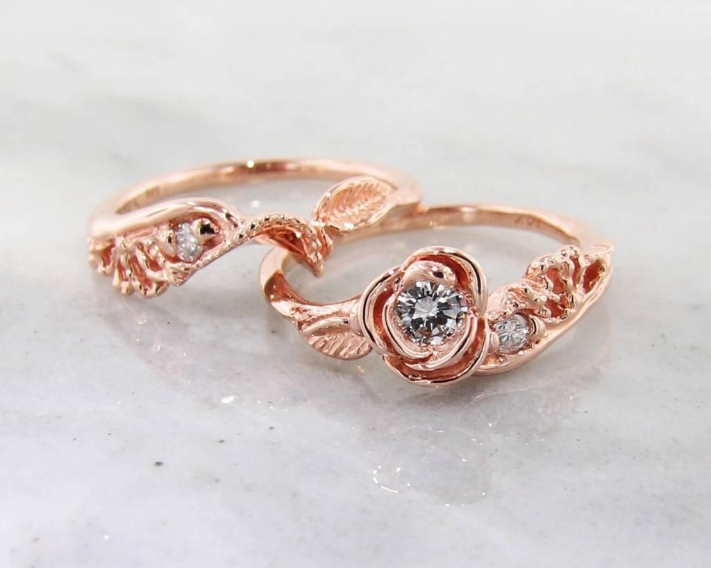 Signature Rose Diamond Rose Gold Wedding Set, Lacy Tea Rose