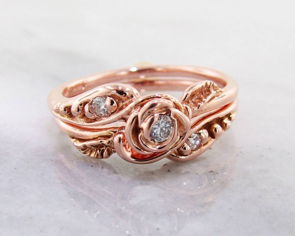 Signature Rose Diamond Rose Gold Wedding Set, Tea Rose